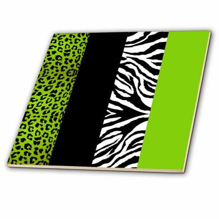 3dRose Lime Green Black and White Animal Print - Leopard and Zebra - Ceramic Tile, 4-inch