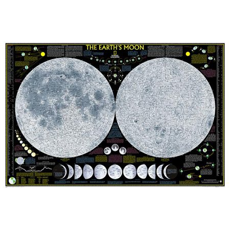National Geographic: Earth's Moon Wall Map - Laminated (42.5 X 28.5 (National Geographic Half Moon Aqua Oasis 1-2 Gallon)