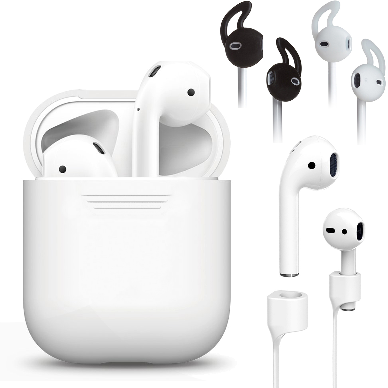 EEEKit 3in1 Protect Kit for Airpods,Silicone Charging Case Protective Cover, Anti Lost Airpods Sport Strap Cable, Earbud