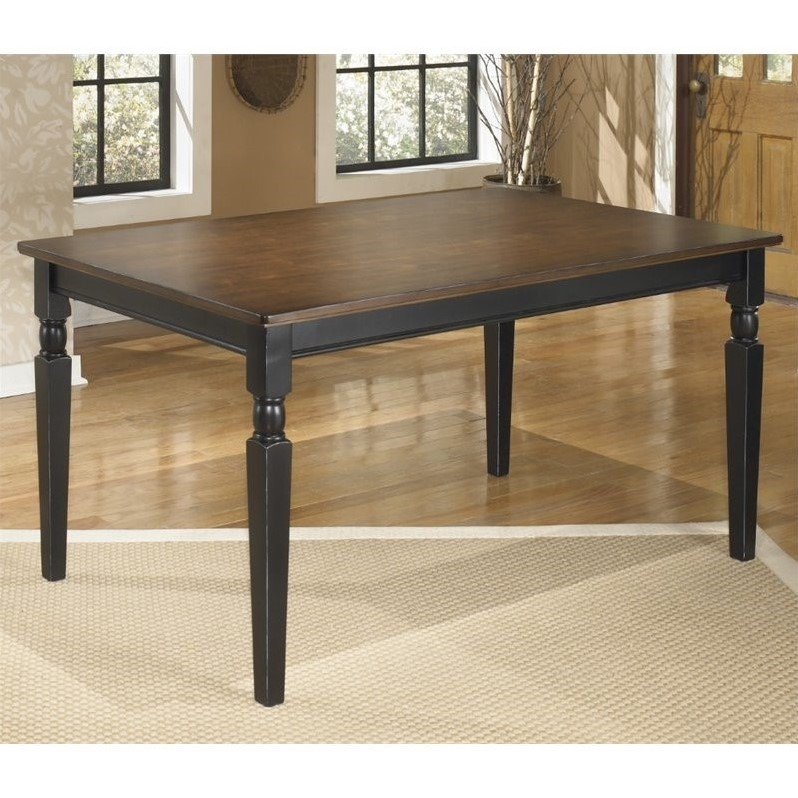 Ashley Owingsville Rectangular Dining Table in Black and Brown
