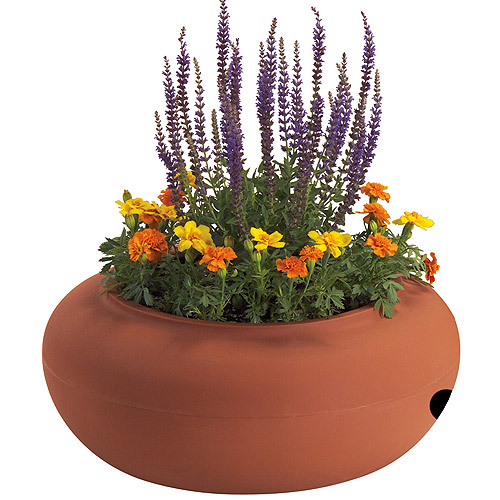 Akro Mils RZ.GH210A34 21 in Terra Cotta Colored Plastic Garden Hose Pot