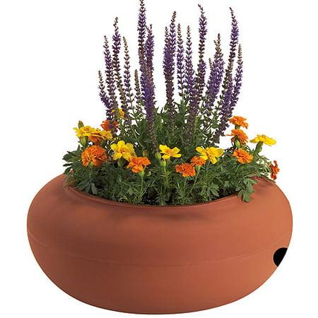 - Akro Mils RZ.GH210E35 21 in Terra Cotta Colored Plastic Garden Hose Pot