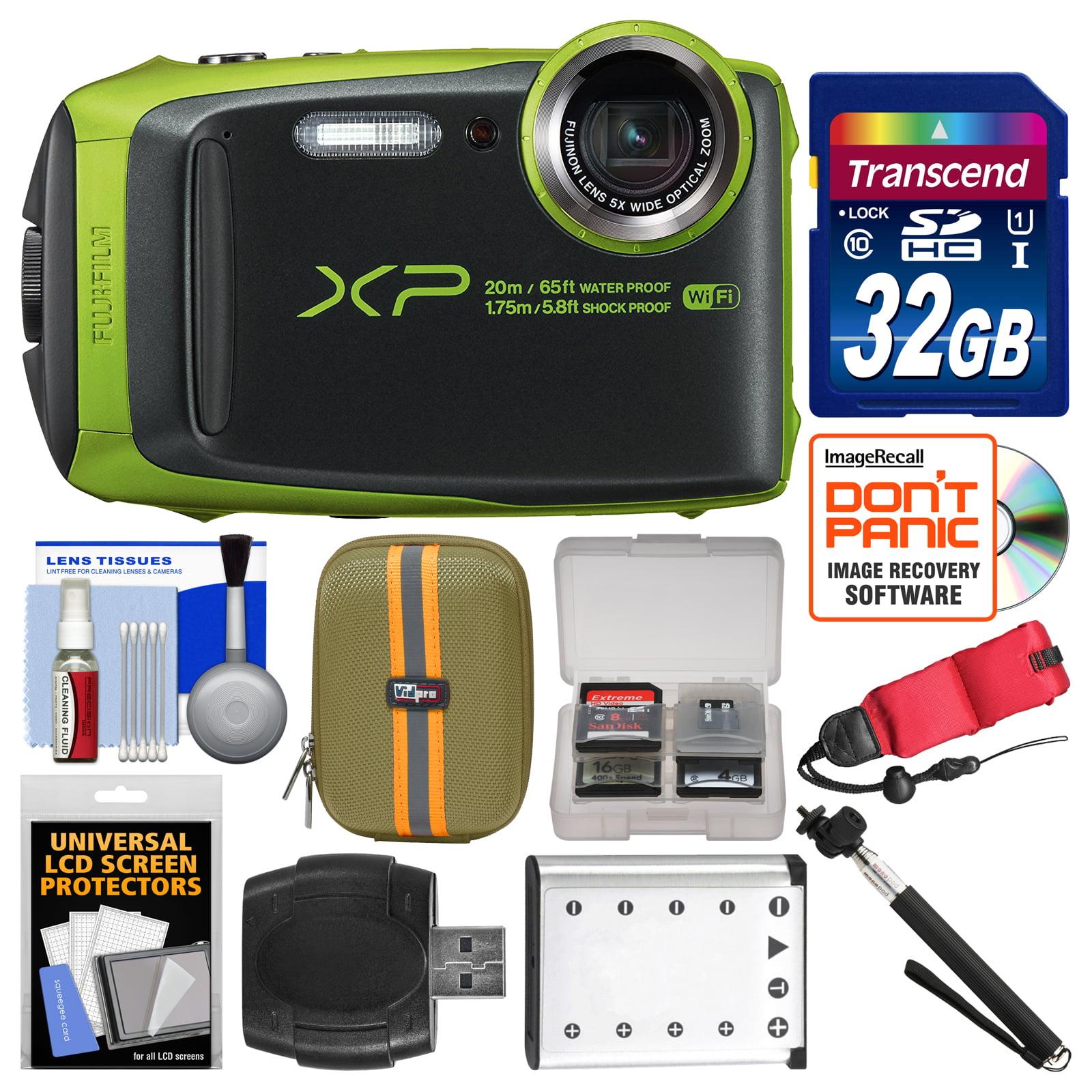 FujiFilm FinePix XP120 Shock & Waterproof Wi-Fi Digital Camera (Lime Green) with 32GB Card + Case + Battery + Selfie... by Fujifilm