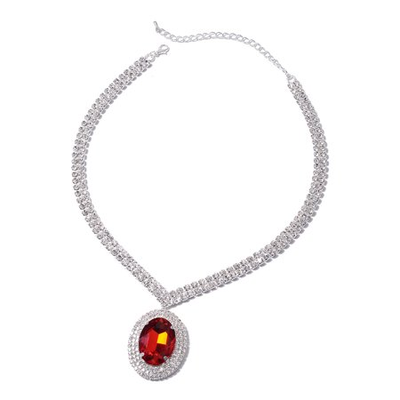 Silvertone Red Glass White Crystal Necklace Jewelry Gift for Women Gift 16-18