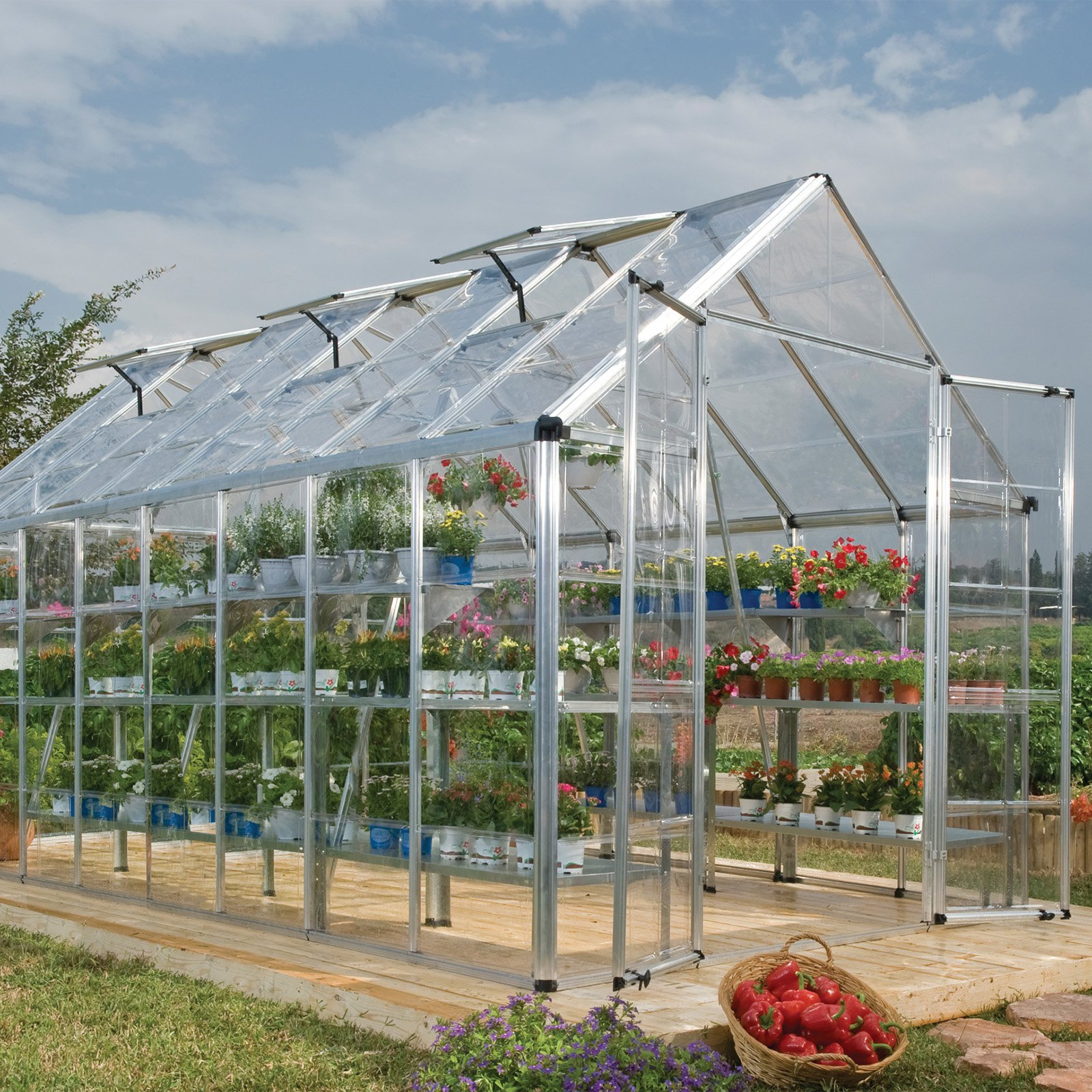 Snap and Grow 8' x 16' Silver Frame Hobby Greenhouse by Palram