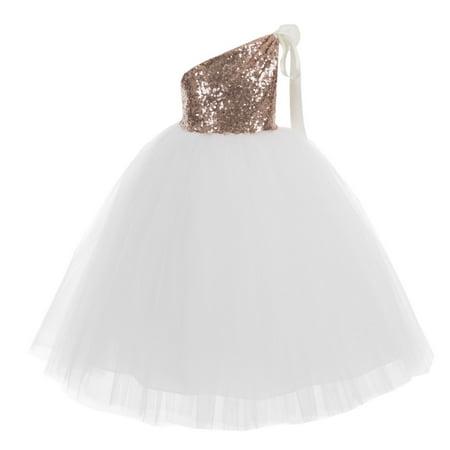 Ekidsbridal One-Shoulder Sequins Tutu Flower Girl Dress Junior Bridesmaid Dress Pageant Gown Princess Dresses Special Occasion Dresses Toddler Girl Dresses Evening Gown Christening Dresses 182