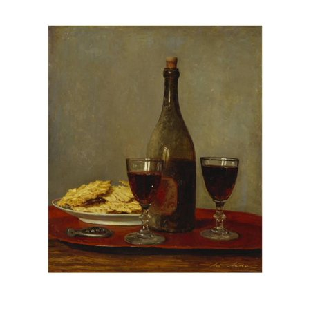 A Still Life of Two Glasses of Red Wine, a Bottle of Wine, a Corkscrew and a Plate of Biscuits on… Print Wall Art By Albert Anker - Plate Wall Art