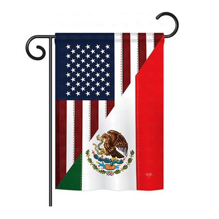 Breeze Decor US Mexico Friendship 2-Sided Vertical Flag