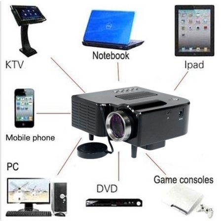 New Full HD 1080P Home Theater LED Mini Multimedia Projector Cinema USB TV HDMI UC28+ Black by MUSICCRAZY