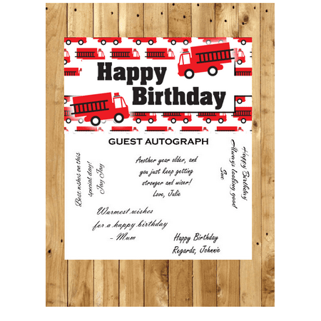 FireTruck Birthday Guest Autograph Peel and Stick For Keepsake Removable Poster 13 x 24inches