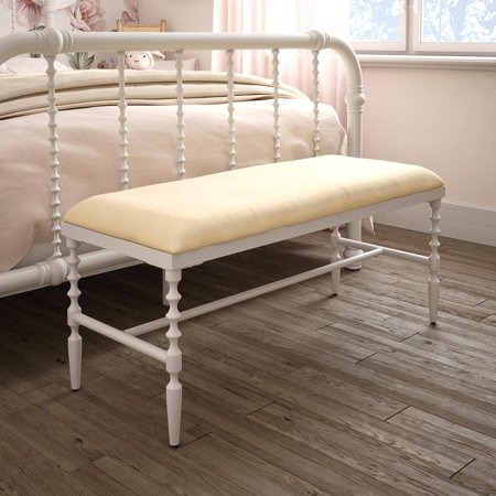 Surprising Dhp Jenny Lind Bench White Metal With Ivory Cushion Theyellowbook Wood Chair Design Ideas Theyellowbookinfo