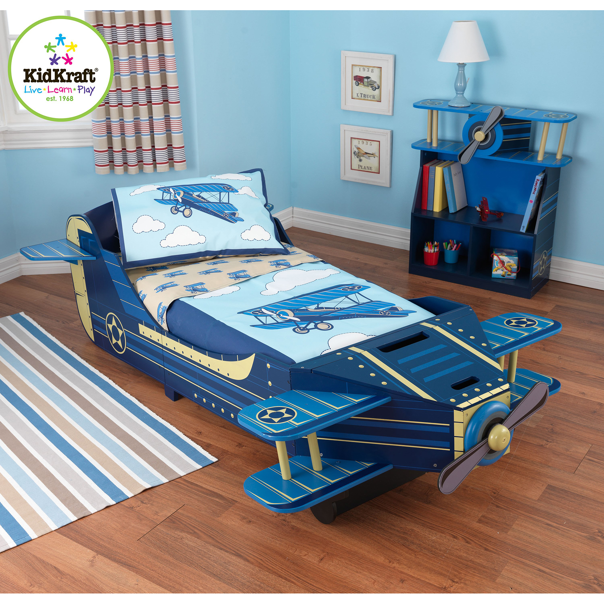 KidKraft Airplane 4-Piece Toddler Bedding Set