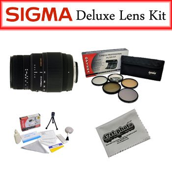 Sigma Lens Bundle for Canon Featuring Sigma 70-300mm f/4-5.6 DG Macro Telephoto Zoom Lens, Opteka Pro 5 Piece Filter Kit and More