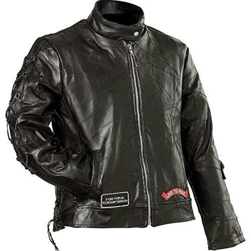 Diamond Plate Ladies' Rock Design Genuine Buffalo Leather Motorcycle Jacket- 3X