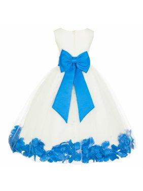 ed31ccb18 Product Image Ekidsbridal Satin Ivory Malibu Tulle Petal Christmas Junior  Bridesmaid Recital Easter Holiday Wedding Pageant Communion Princess
