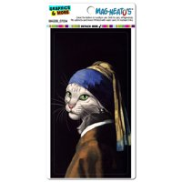 The Cat With The Pearl Earring - Girl Johannes Vermeer Painting Parody Funny MAG-NEATO'S(TM) Car/Refrigerator Magnet