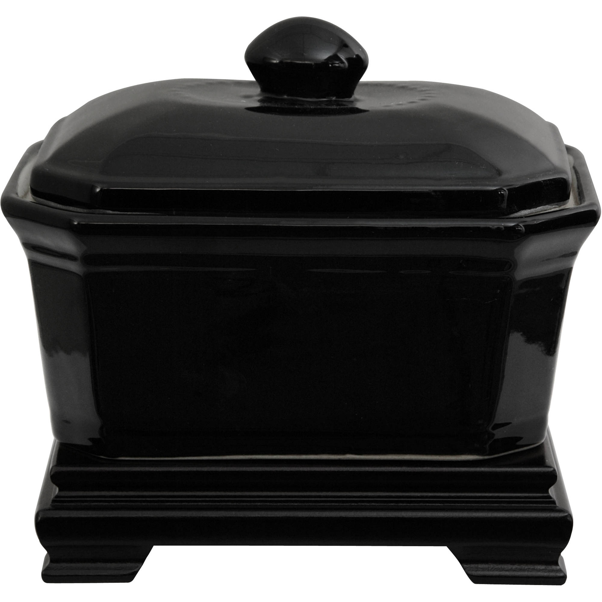 "8"" Solid Black Porcelain Covered Jar by Oriental Furniture"