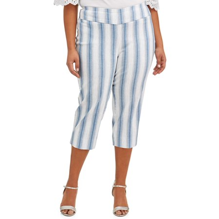 Wear Cropped Pants (Women's Plus Size Blue Striped Cropped Pant )