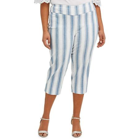 Stripe Cotton Crop Pant (Women's Plus Size Blue Striped Cropped Pant)