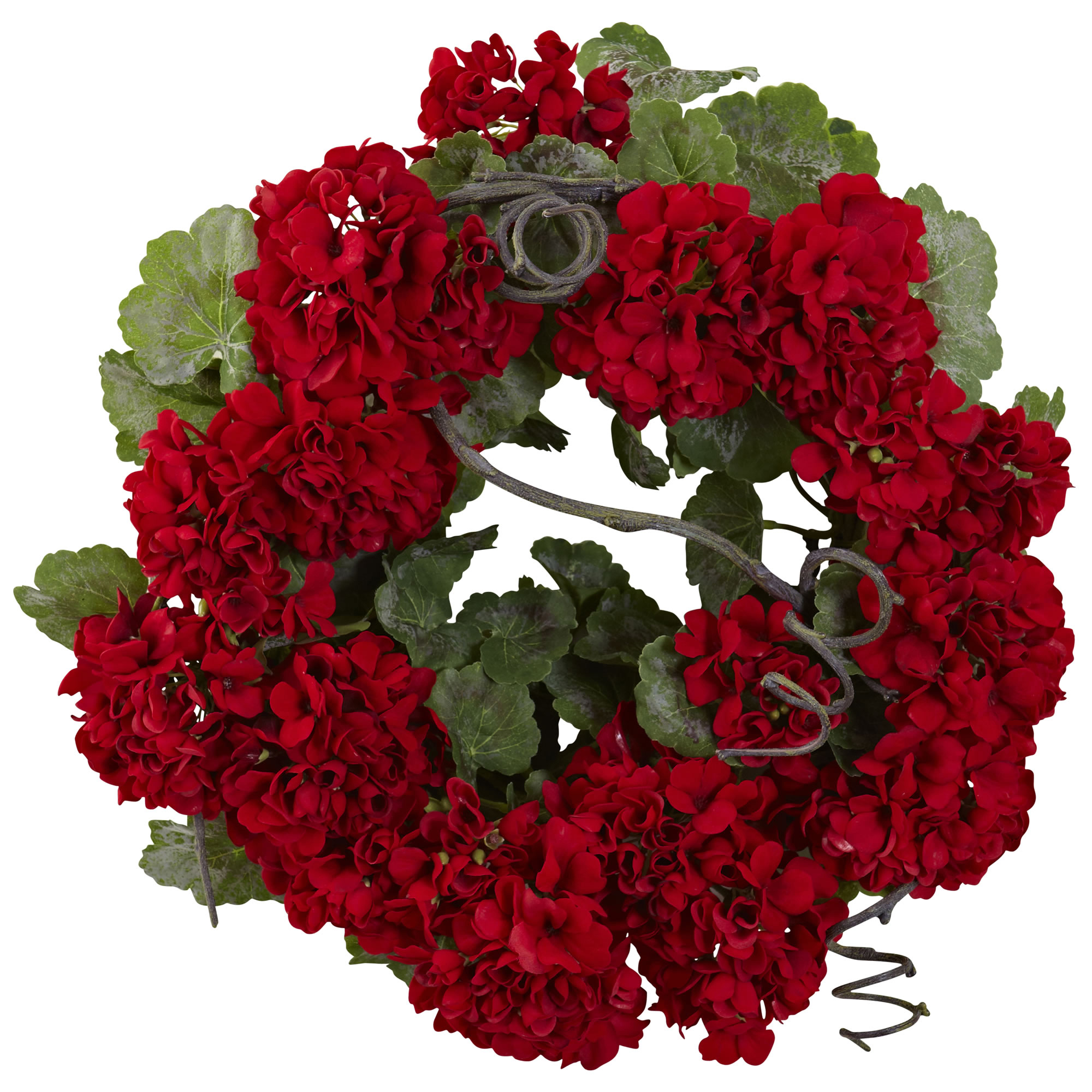 Nearly Natural 17 in. Geranium Wreath