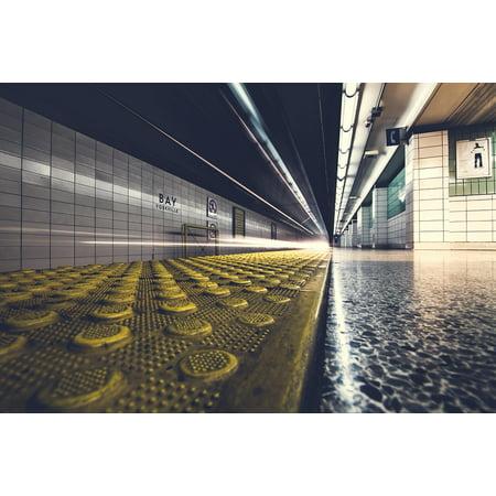 Canvas Print Underground Subway Station Ground Floor Platform Stretched Canvas 10 x 14 (Ground Station)