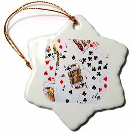 3dRose Scattered playing cards photo - for card game players eg poker bridge games casino las vegas night - Snowflake Ornament, 3-inch
