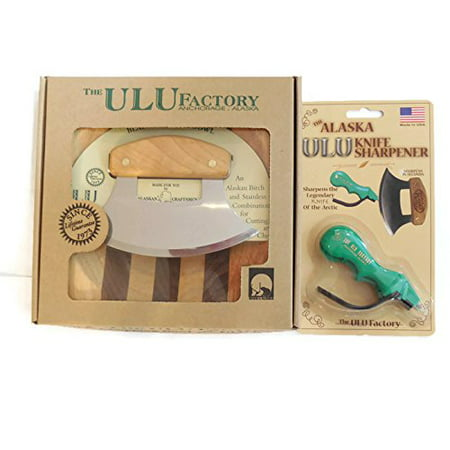 Alaska Ulu Knife And Chopping Bowl Set Bundle With Ulu Knife Sharpener, This Ulu Knife Can Be Used As Mezzaluna Chopper, Bolo Rolling Knife And Chopped Salad Tool.