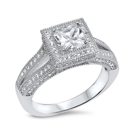 Simulated Princess Cut Solitaire White Halo Wedding Ring ( Sizes 5 6 7 8 9 10 ) 925 Sterling Silver Rings (Size (Best Wedding Band For Princess Cut Solitaire)