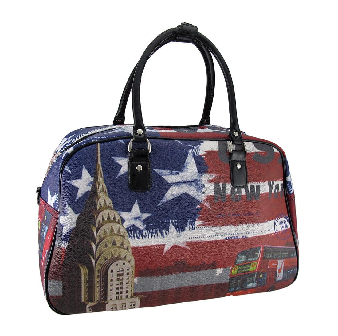 Red White Blue US Flag New York Postcard Print Travel Duffel Bag by Nima Accessories, Inc.