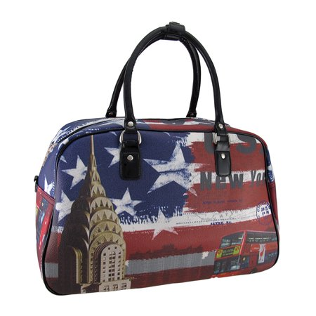 Red White Blue US Flag New York Postcard Print Travel Duffel Bag