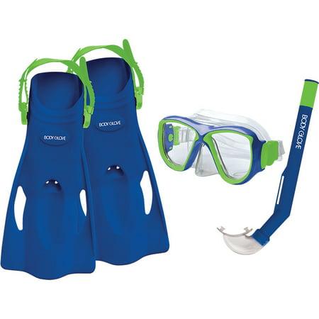 Kids Snorkel Sets - Body Glove Blue & Lime Jr Mischief Mask, Snorkel & Fins Aquatic Set
