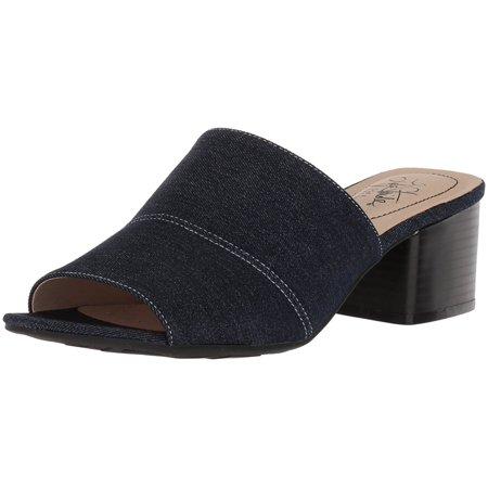 Lifestride Womens Remix Open Toe Casual Slide Sandals, Denim, Size 5.5 Denim Open Toe Sandals