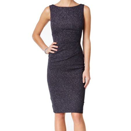 Jessica Howard NEW Gray Womens 4P Petite Ruched Sparkle Sheath Dress
