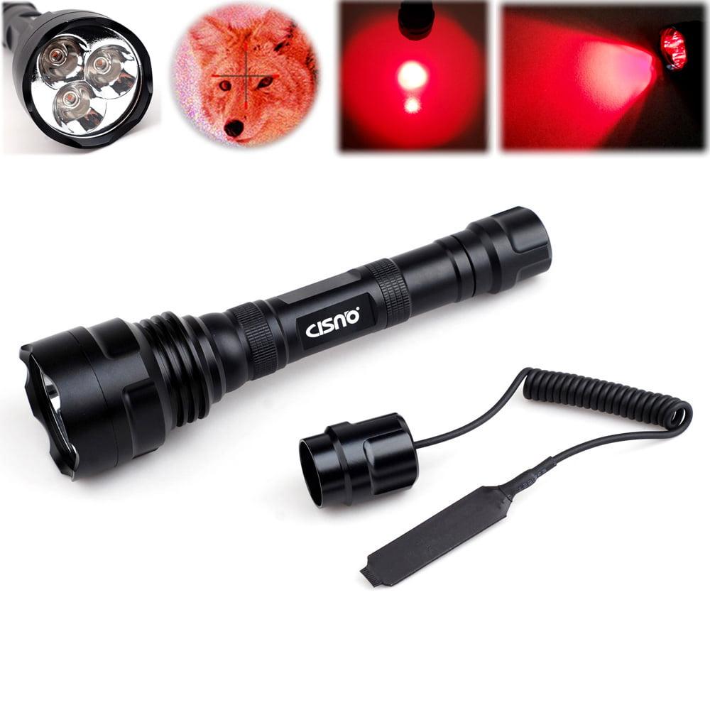 Okeba 600 Lumen 3 x Ultra Bright LED Hunting Tactical Flashlight with  Remote Pressure, Green Light