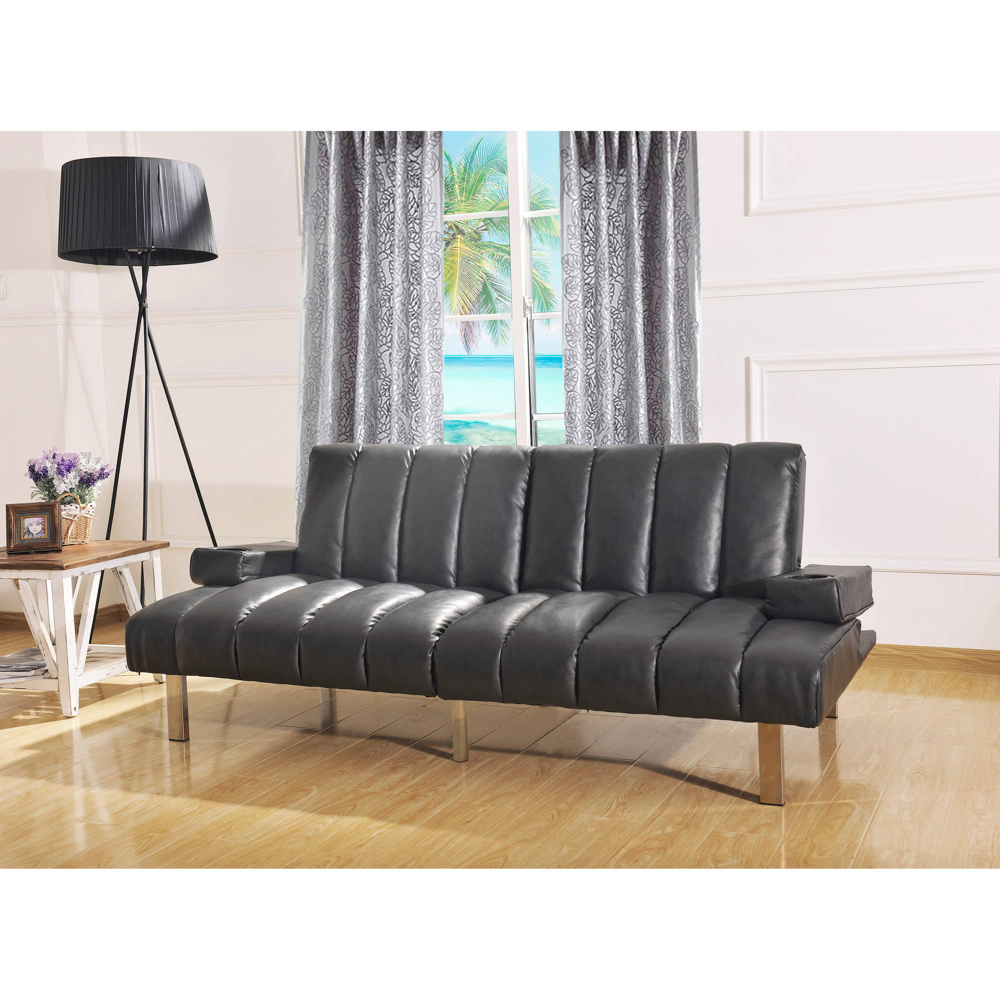 Mainstays Theater Futon Black Walmart