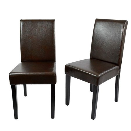 - GHP Pack of 2 Brown PU Leather Padded Seat Wood Frame Contemporary Dining Chairs