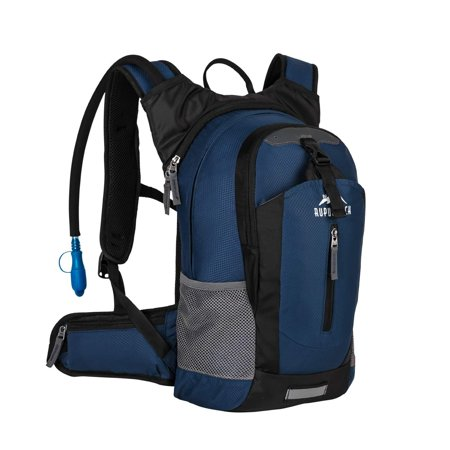 Hydration Daypacks - RUPUMPACK Insulated Hydration Backpack Pack with 2.5L BPA Free Bladder, Lightweight Daypack Water Backpack for Hiking Running Cycling Camping, School Commuter, Fits Men, Women, Kids, 18L Navy Blue