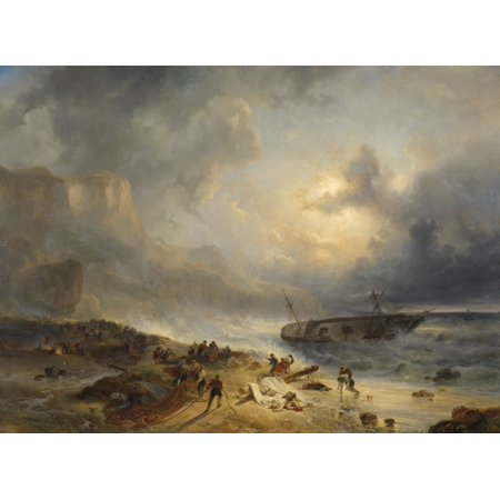 Shipwreck Off A Rocky Coast By Wijnand Nuijen C 1837 Dutch Painting Oil On Canvas After A Three-Masted Ship Foundered And Struck A Rock Seamen Search For Survivors Poster