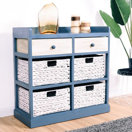 Two Drawer Bed Side Cabinet - Gymax Bedside Table Chest Cabinet Storage Organizer w/ 2 Wood Drawer and 4 Baskets New