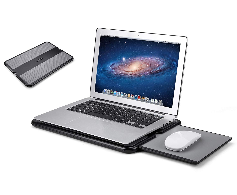 AboveTEK Portable Laptop Lap Desk w Retractable Left Right Mouse Pad Tray, Non-Slip Heat Shield Tablet... by AboveTEK