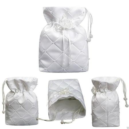 K5 White Pearls Pattern w/flower Purse Handbag for Communion Bridal Formal Dress
