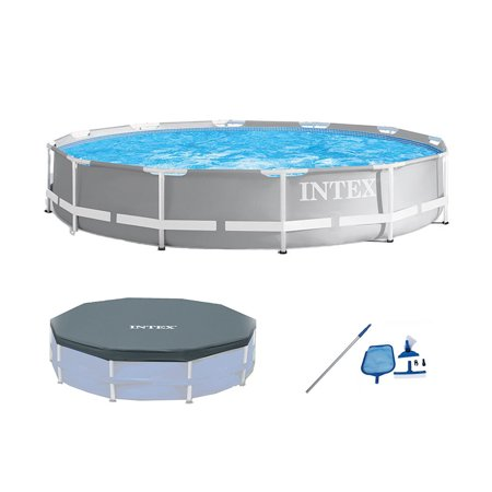 Intex 26711EH 12ft x 30in Prism Above Ground Pool Set w/ Cover & Maintenance