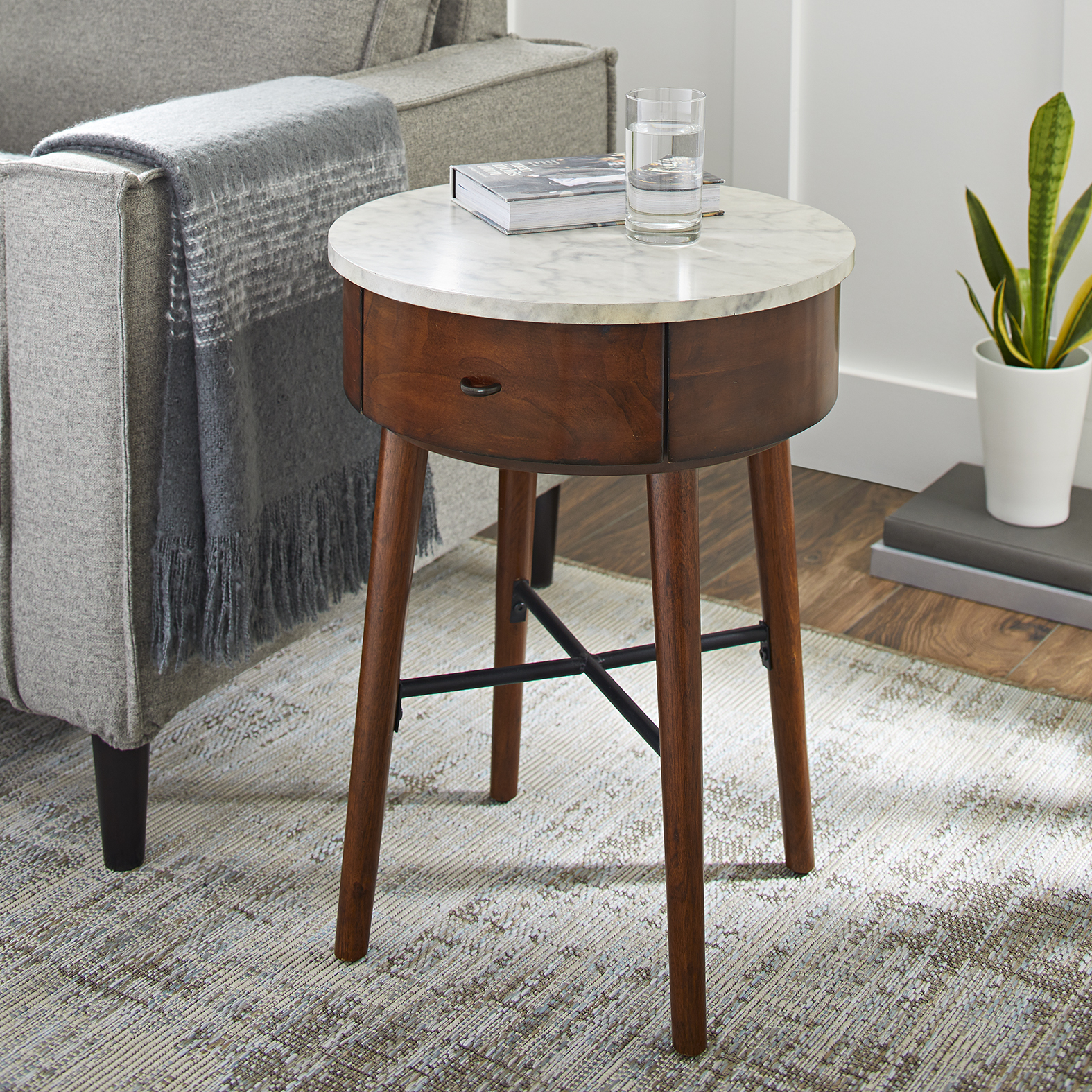 Better Homes and Gardens Wood & Marble Finish Round Accent Table, Walnut