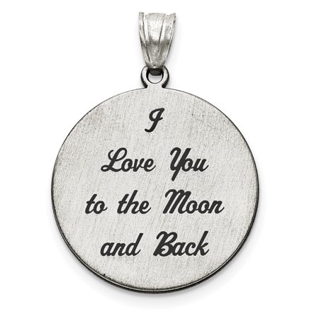925 Sterling Silver Love You To The Moon Brushed Pendant Charm Necklace Saying Phrase Disc I Back Fine Jewelry For Women Gift Set - Halloween Invitation Sayings And Phrases