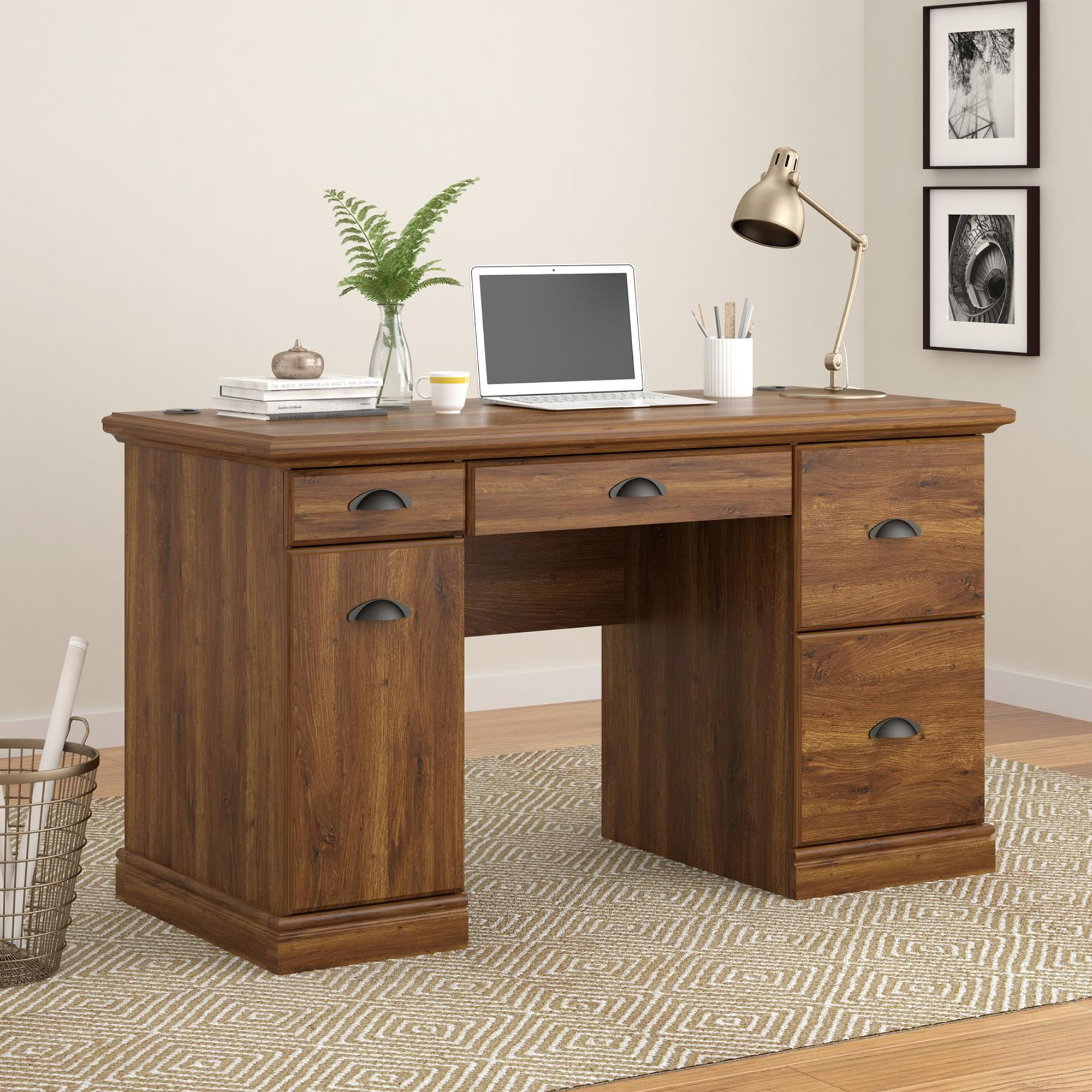Superieur Better Homes And Gardens Computer Desk With Filing Drawers, Brown Oak    Walmart.com