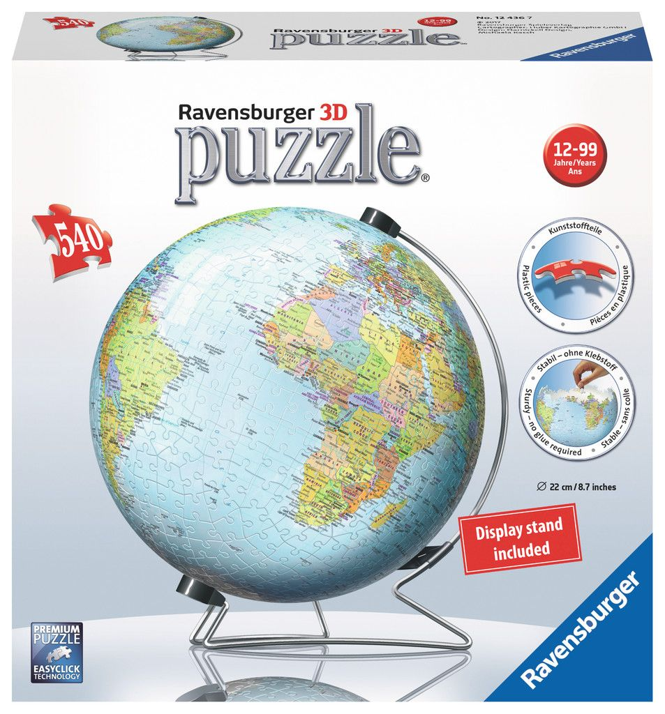 Earth Globe 3D Puzzle 540 pcs. Jigsaw Puzzle by Ravensburger (12436) by Ravensburger