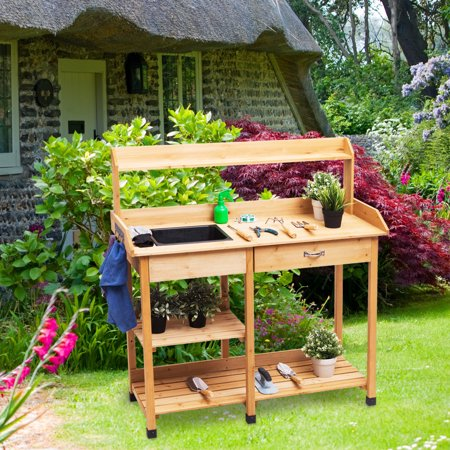 Awe Inspiring Gymax Outdoor Garden Potting Bench Lawn Patio Table Storage Evergreenethics Interior Chair Design Evergreenethicsorg