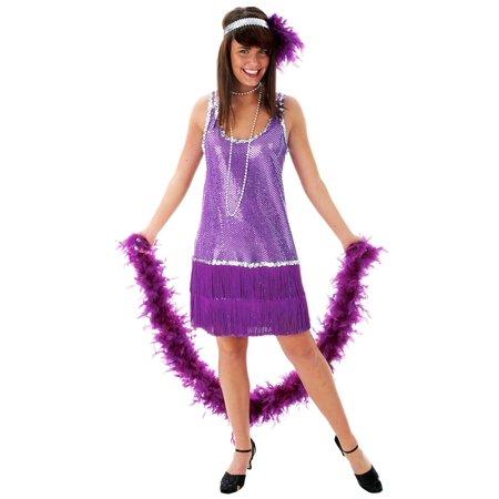 Purple Plus Size Flapper Dress - Plus Size Beaded Flapper Dress