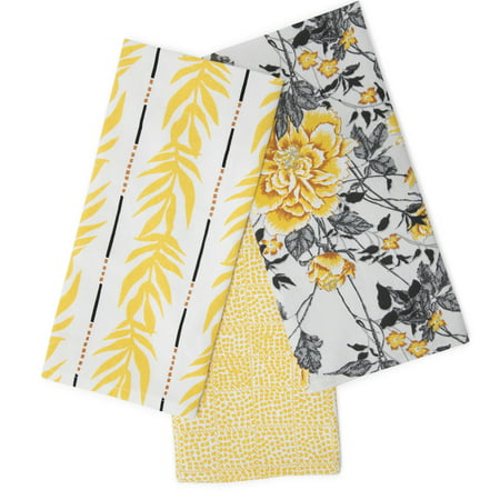 Vintage Floral Kitchen Towel 3 Piece Set, Jamaican Yellow by Drew Barrymore Flower Home