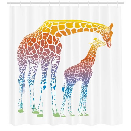 Giraffe Shower Curtain, Mom Kid Giraffe in Rainbow Colors Abstract Art Surrealist Image of African Animal, Fabric Bathroom Set with Hooks, Multicolor, by Ambesonne - Mom Shower